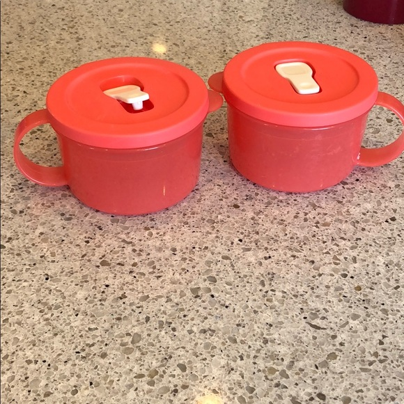 Set of two. Microwave soup bowls. Coral